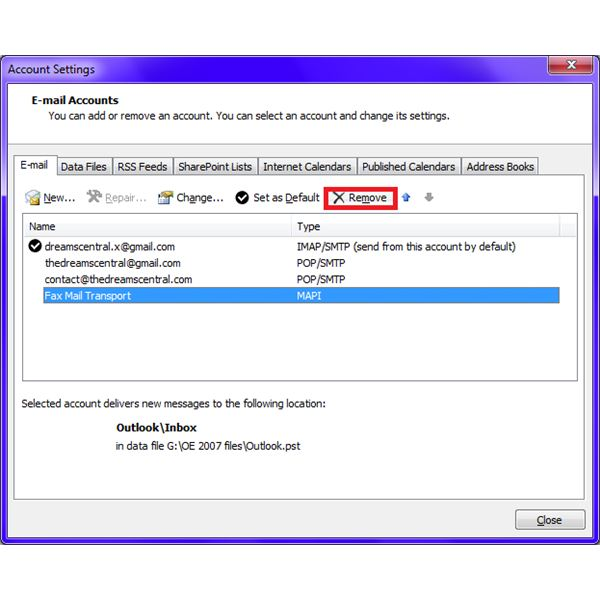 Fig 3 - How to Delete E-mail Accounts in Microsoft Outlook - The Remove Button