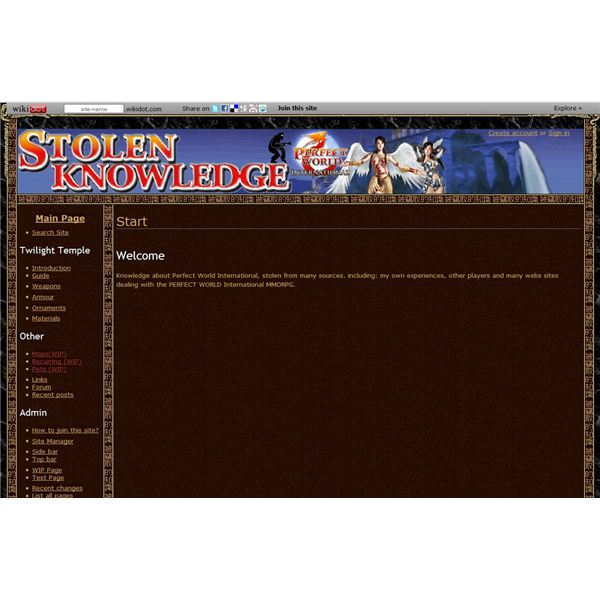 Stolen Knowledge Main Page