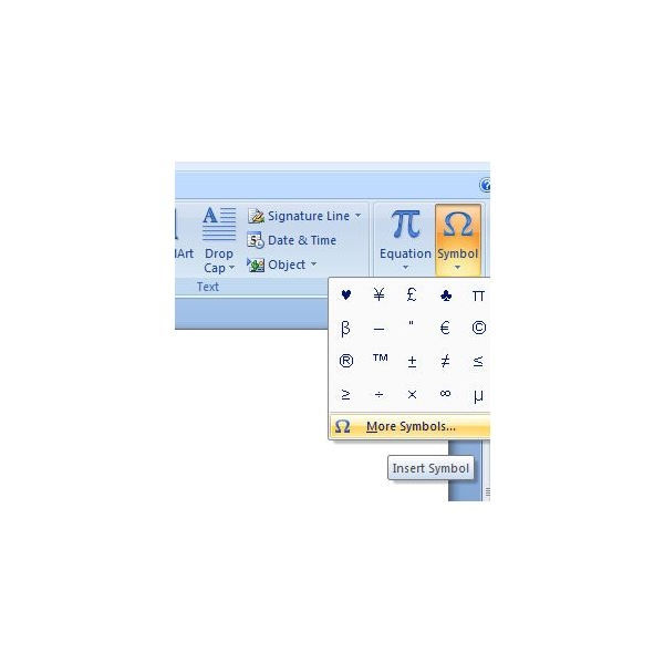 How To Insert Symbols And Special Characters In Microsoft Word 2007