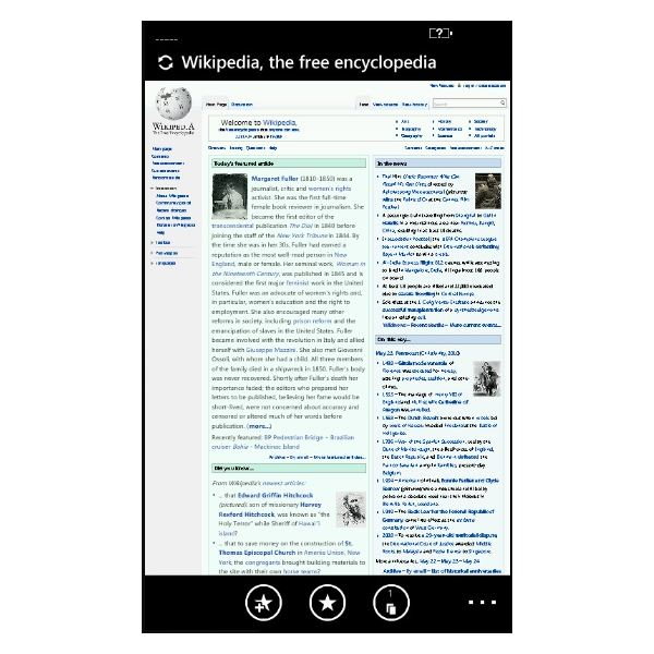 The Windows Phone 7 browser