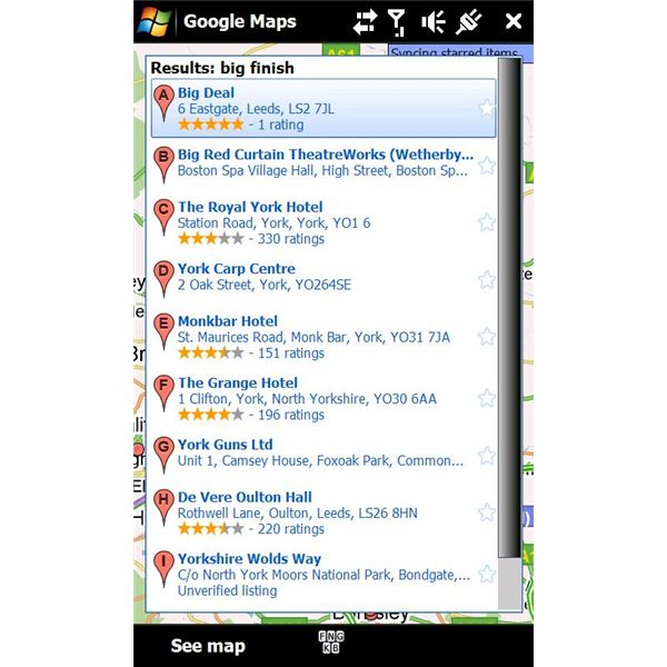 Google Maps Windows Mobile search results