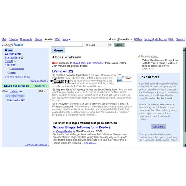Use Sharing Features to Manage Google Reader Contact Feeds - ARCHIVED