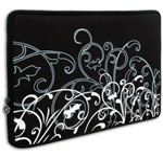 Black and White Fleur Laptop Case