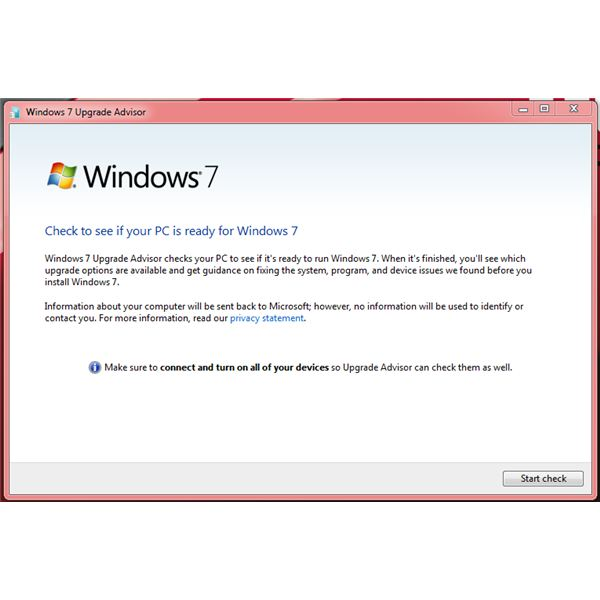 The Windows7 Start Check Operation