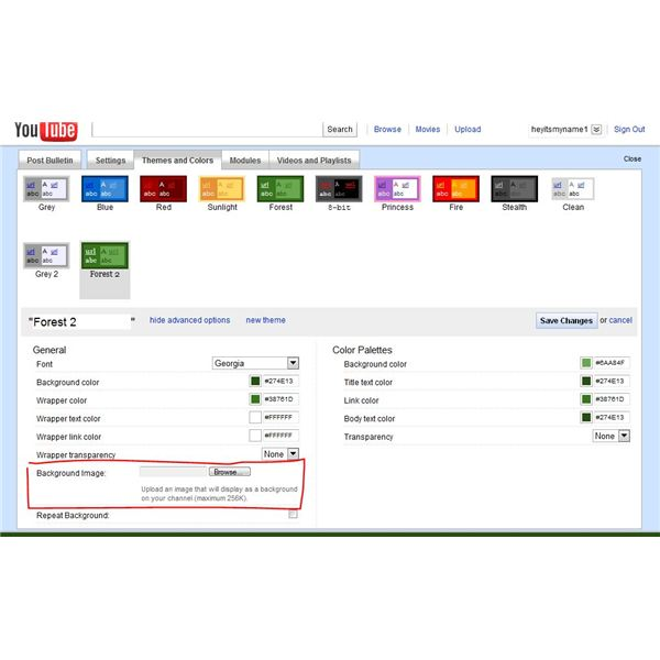 Advanced Theme in YouTube