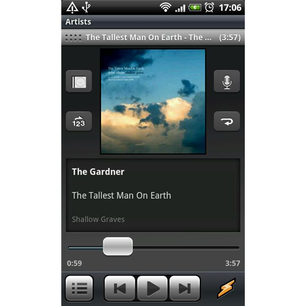 Winamp for Android Now Playing Screen