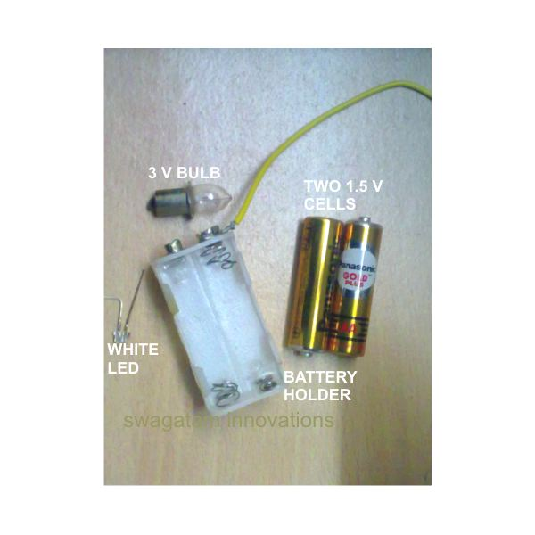 Parts Required for Batteries Light Bulb Simple Circuit Experiment, Image