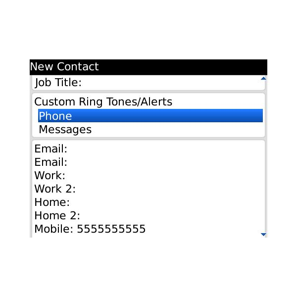 Blackberry Contacts assign custom rings