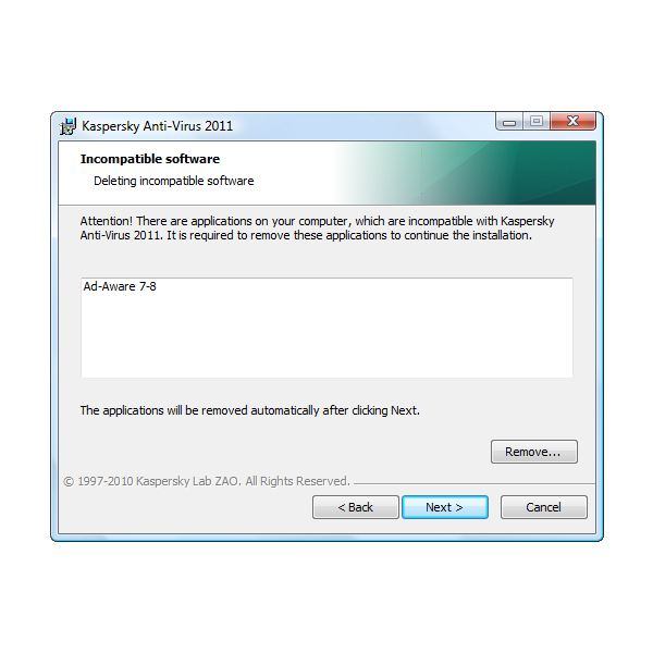 Ad-Aware is Incompatible with Kaspersky AV 2011