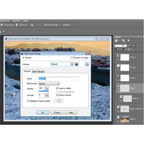 Define Settings for New Layer Group