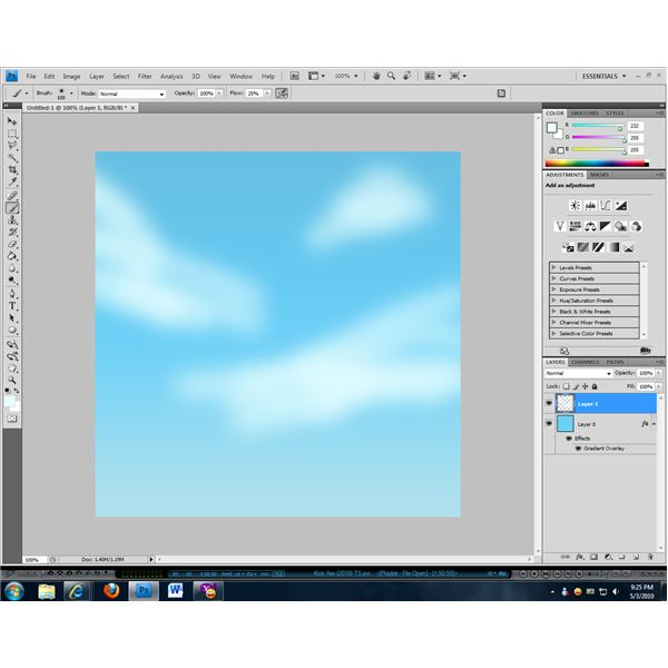 The airbrush tool is useful when making clouds.