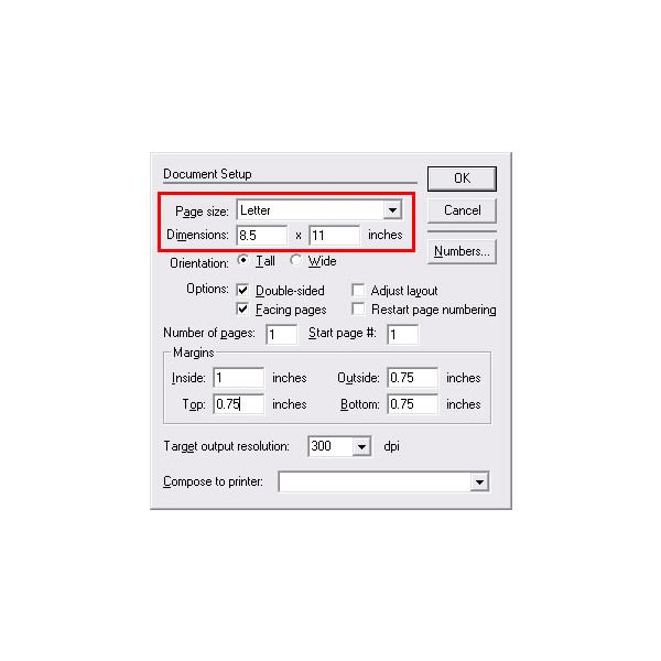 The Document Setup dialog box