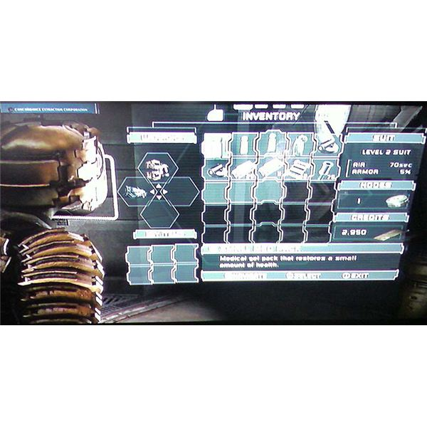 Dead Space inventory screen