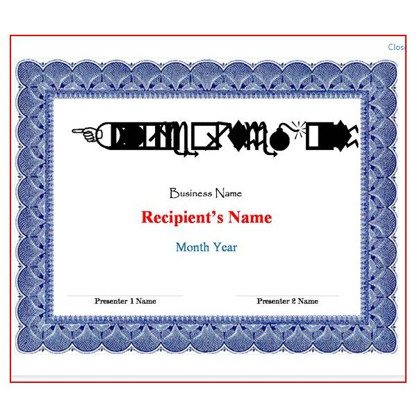 Award Certificates from Word