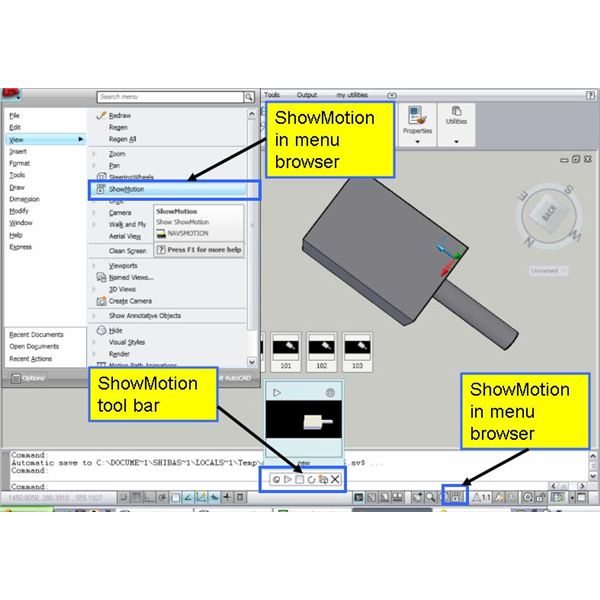 showMotion in autocad 2009