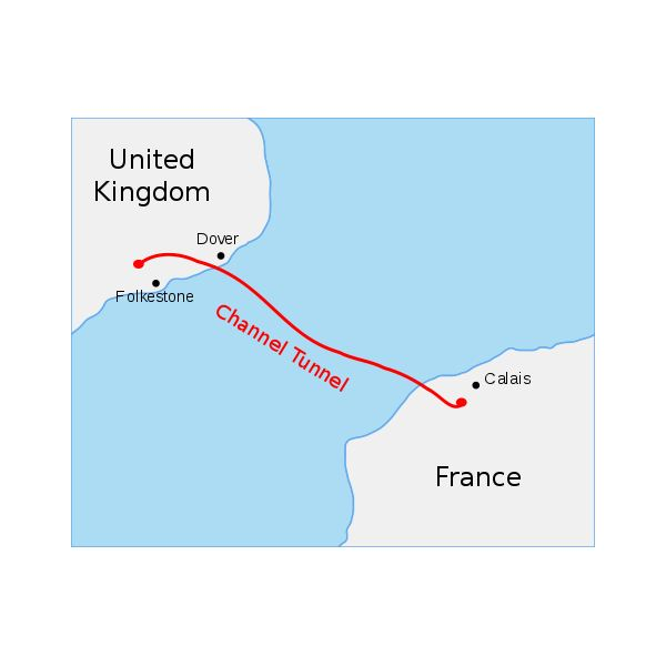 Map of the Channel Tunnel
