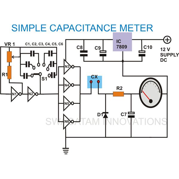 To build a simple analogue capacitance meter simple capacitance meter circuit diagram image asfbconference2016 Image collections