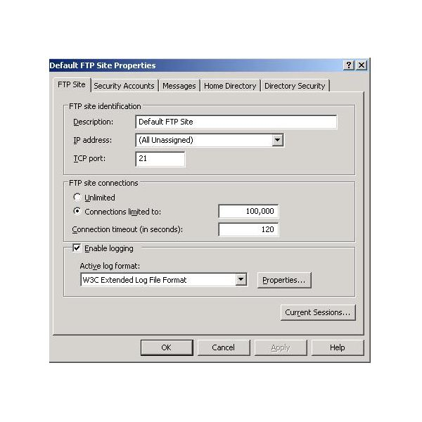 4. Default FTp page