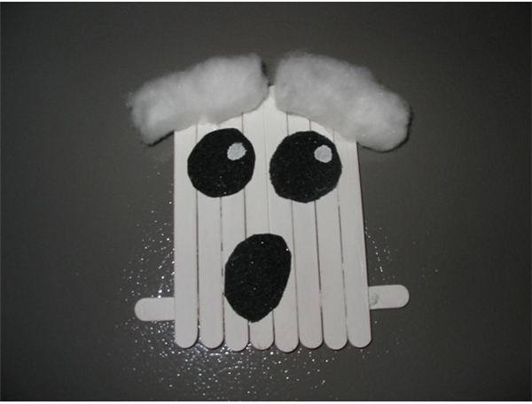 Popsicle Stick Ghost Magnet