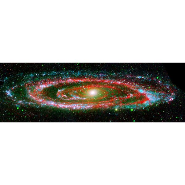 Andromeda as seen through a composite image from NASA's Galaxy Evolution Explorer and the Spitzer Space Telescope.