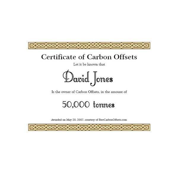 Certificate of Carbon Offsets
