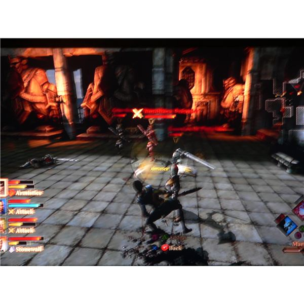 Hawke using Armistice to prevent the archers attacking her in Dragon Age 2.