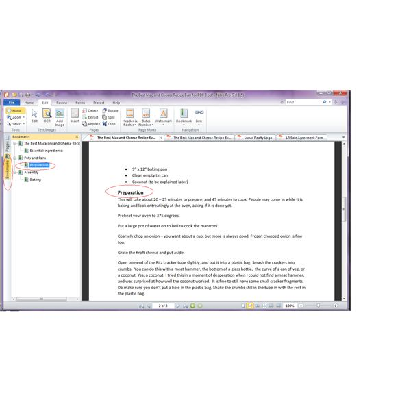Headings in Word became bookmarks