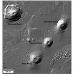 Olympus Mons and the three Tharsis Montes volcanoes: Arsia Mons, Pavonis Mons, and Ascraeus Mons