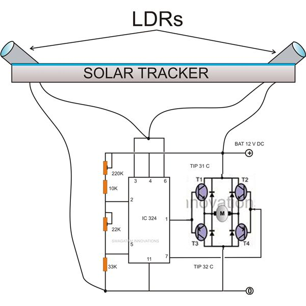 building an automatic dual axis solar tracker introduction and rh brighthub com solar panel tracker circuit diagram simple solar tracker circuit diagram