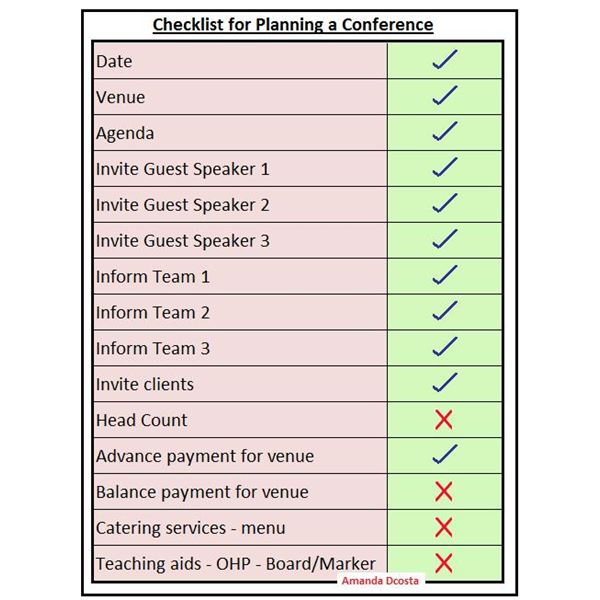Free checklist for planning a conference for Planning a conference template