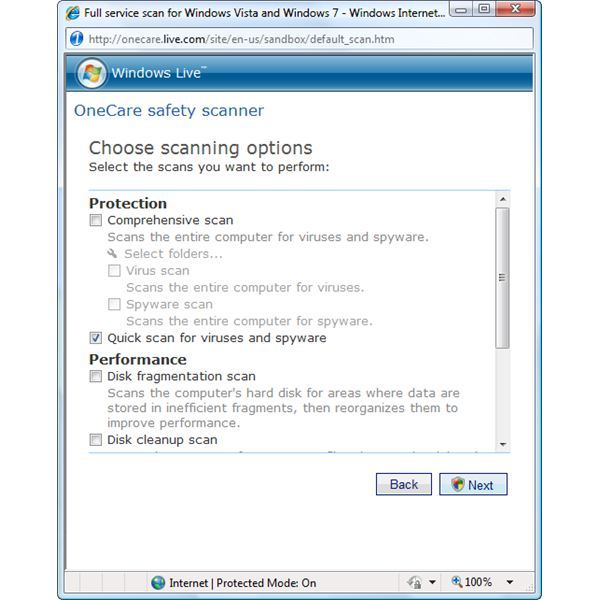 Selecting what to scan using OneCare safety scanner by Windows Live