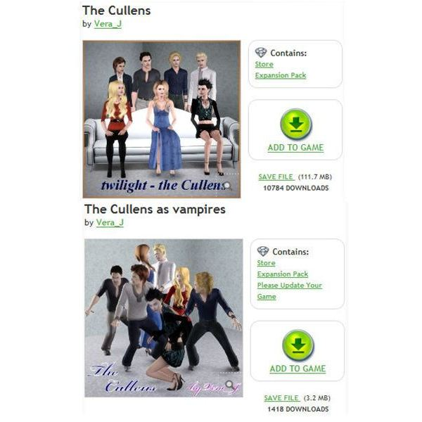 The Sims 3 Twilight cullens