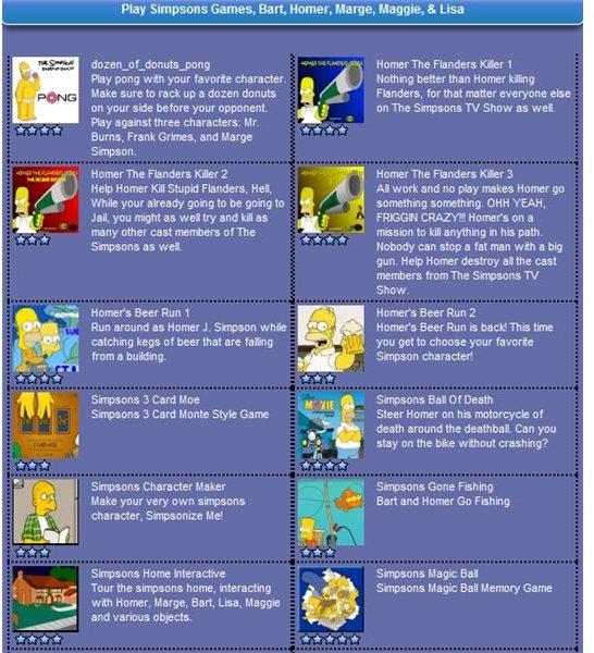 Simpsons games directory screenshot