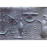 Mesopotamian cylinder seal showing a star, the crescent Moon and the Pleiades cluster (upper left)