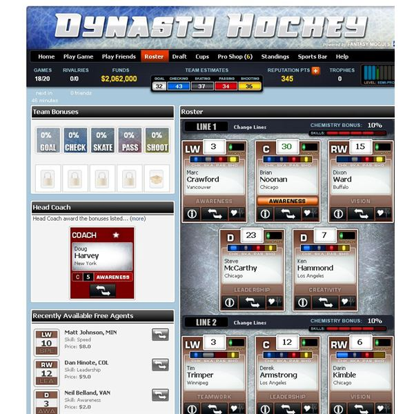 Facebook Hockey Games: Dynasty Hockey Review