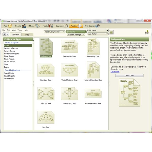Review of Family Tree Maker: Windows 7 Release, where various genealogy charts are available