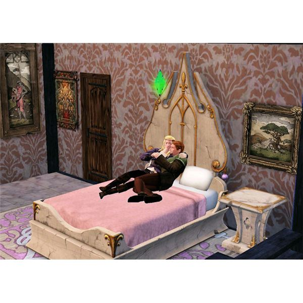 The Sims Medieval cuddling on bed