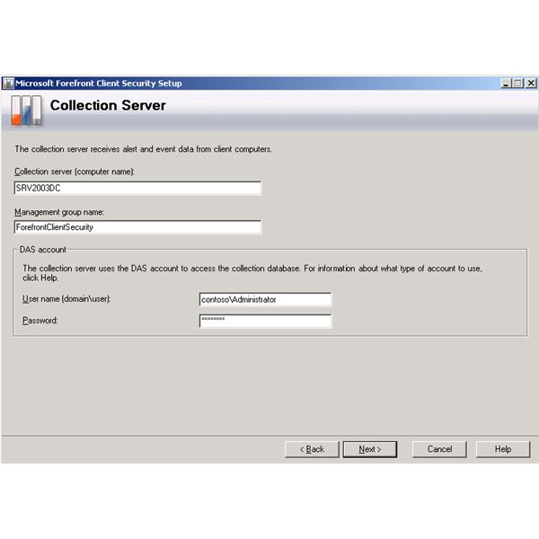 Forefront Client Security Installation Wizard - Collection Server