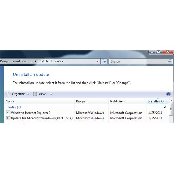 IE9 is listed in Installed Updates for Windows