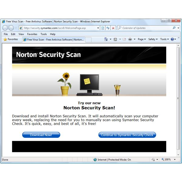 Homepage of Norton Security Scan