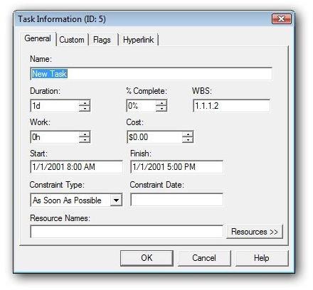 Enter Task Information in PERT Chart Expert