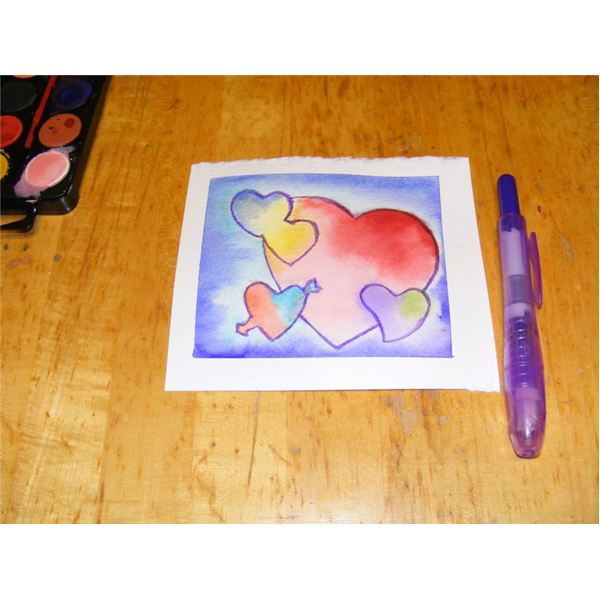 Outline hearts with marker