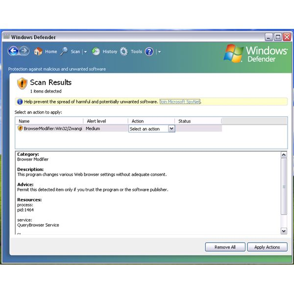 Remove QueryBrowser by FLVTube Using Windows Defender