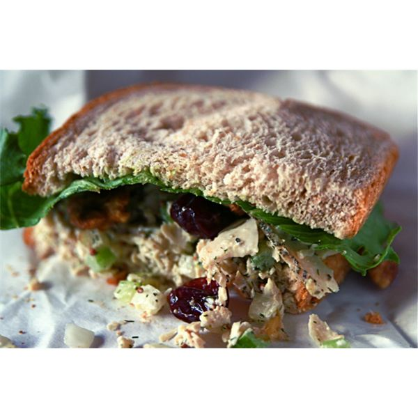 Chicken salad, spiced walnuts, dried cherries, romaine-iceberg lettuce on whole grain wheat bread.