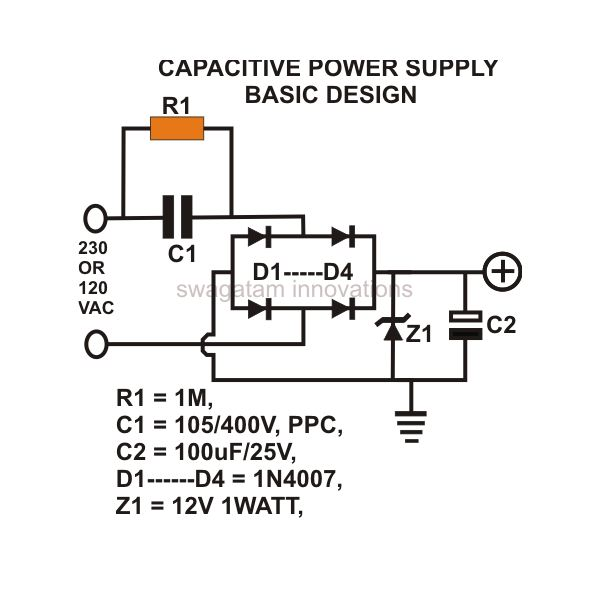 how to build a low cost and efficient transformerless power supply rh brighthubengineering com 12v dc smps power supply circuit diagram 240v ac to 12v dc power supply circuit diagram