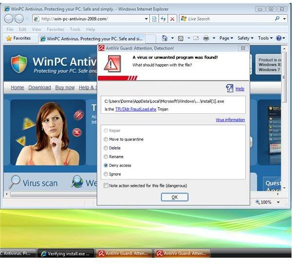 Sample Malware Alert Action Options in AntiVir 9