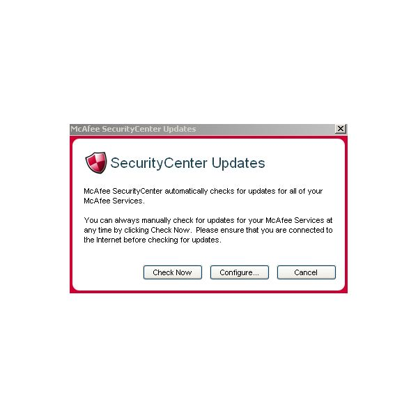 McAfee VirusScan Update Menu 1