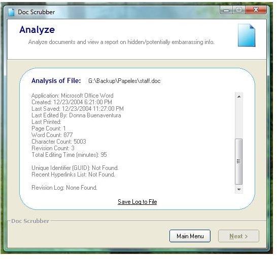 Sample analysis of doc file