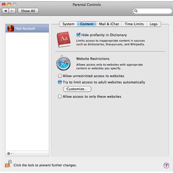 Content Settings for OS X Parental Controls