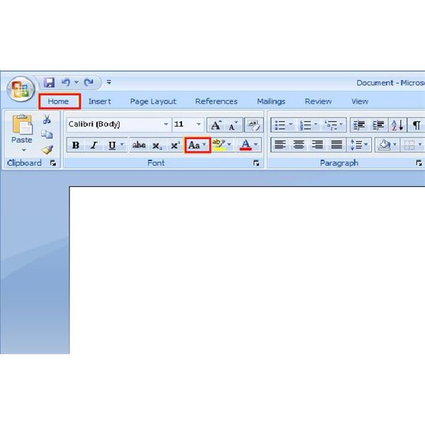 how to change text to uppercase in word